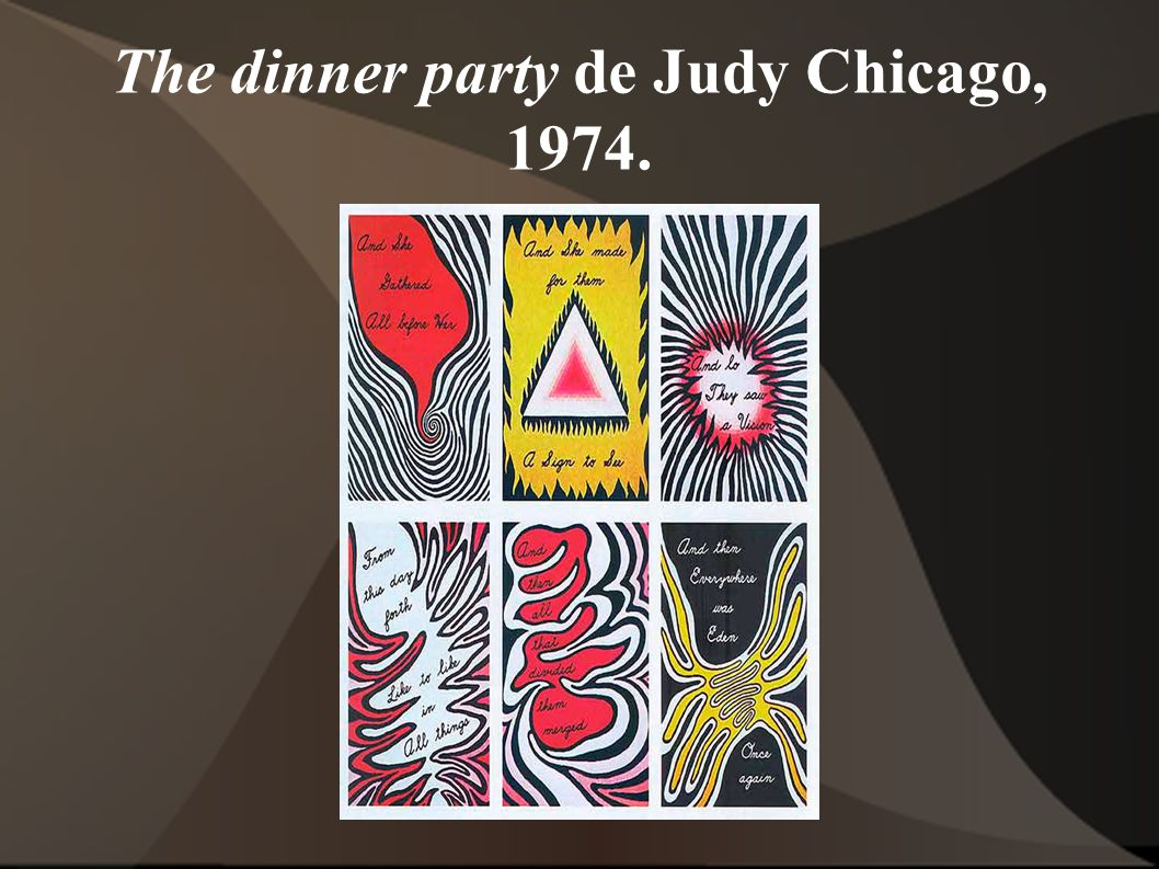 The dinner party de Judy Chicago, 1974.