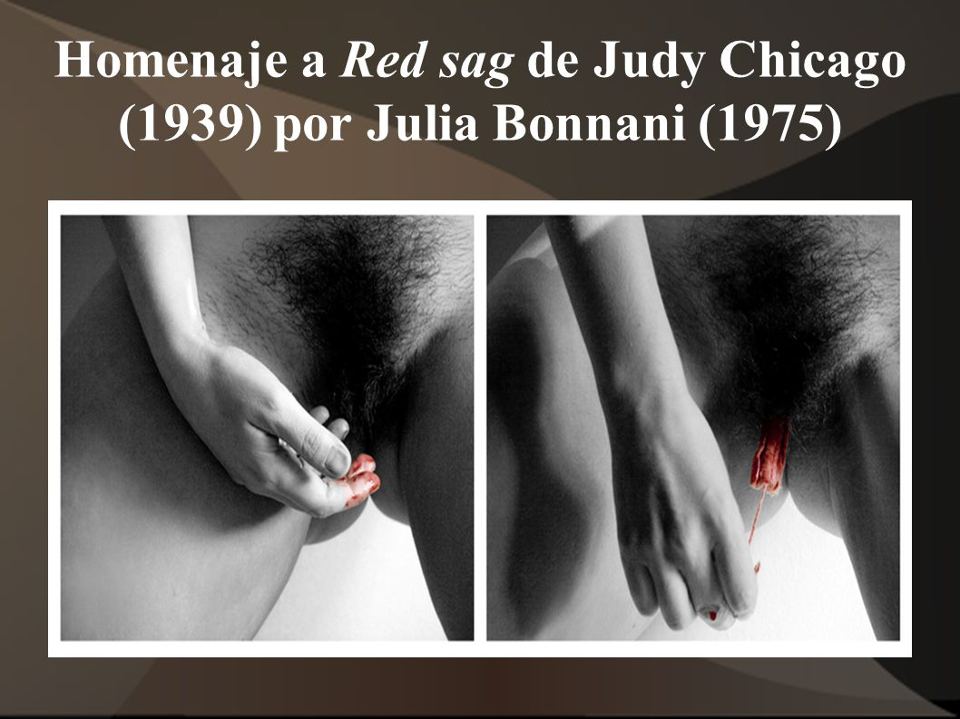 Homenaje a Red sag de Judy Chicago (1939) por Julia Bonnani (1975)
