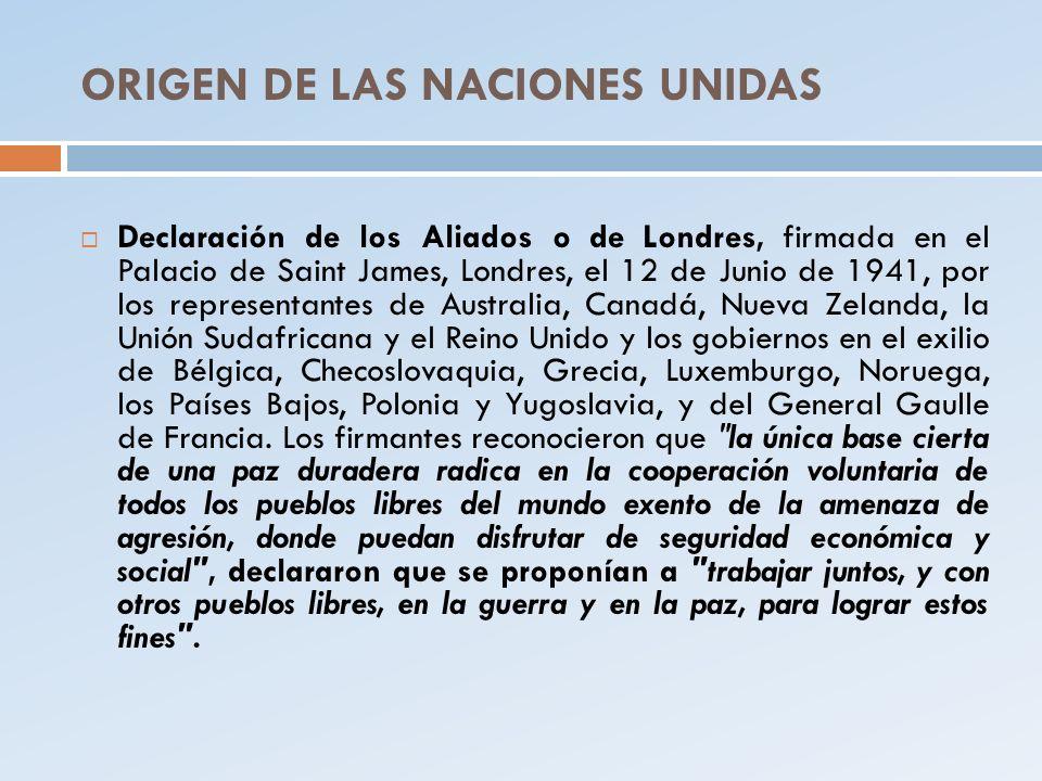 ORIGEN DE LAS NACIONES UNIDAS