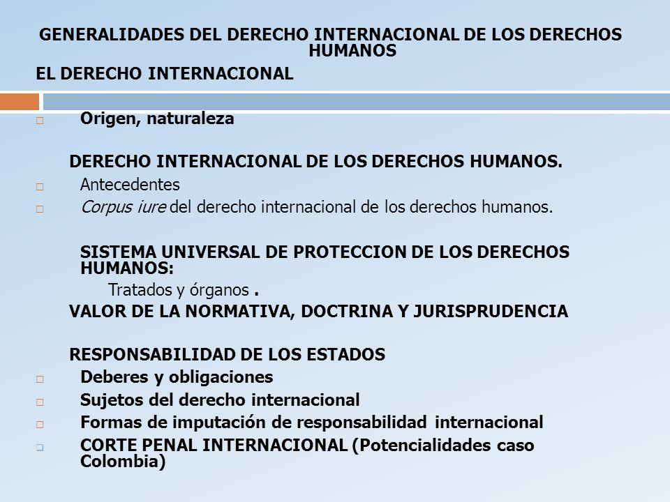 GENERALIDADES DEL DERECHO INTERNACIONAL DE LOS DERECHOS HUMANOS