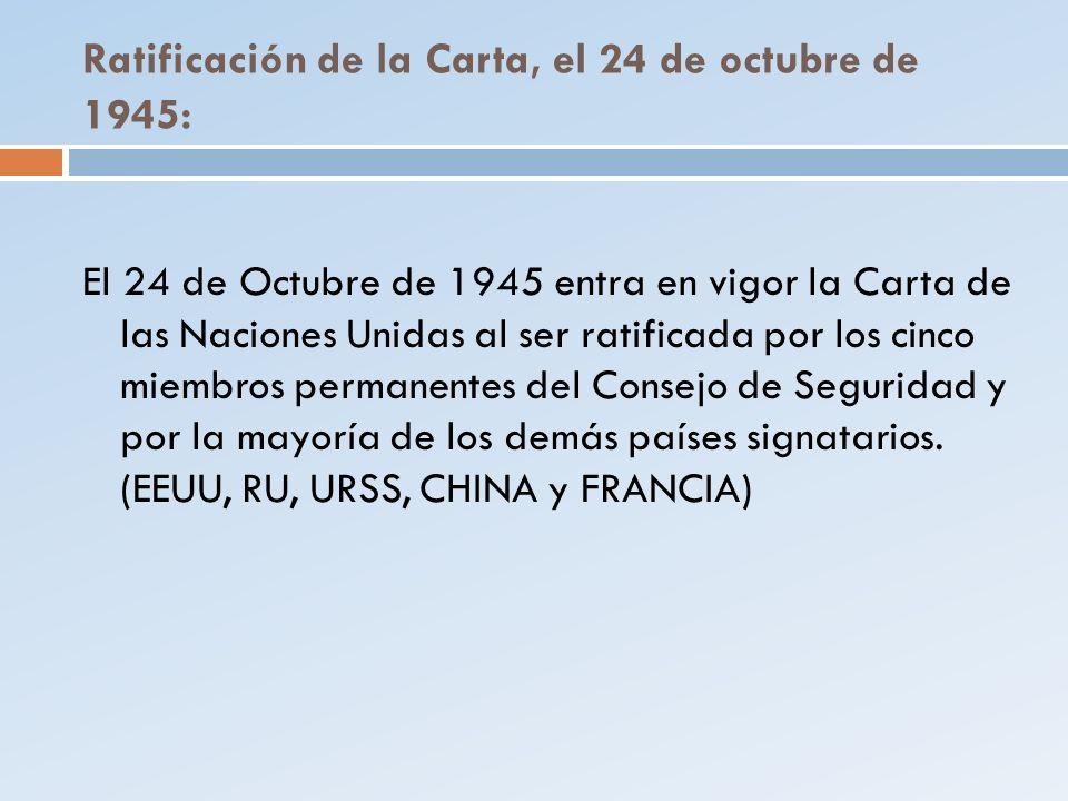 Ratificación de la Carta, el 24 de octubre de 1945: