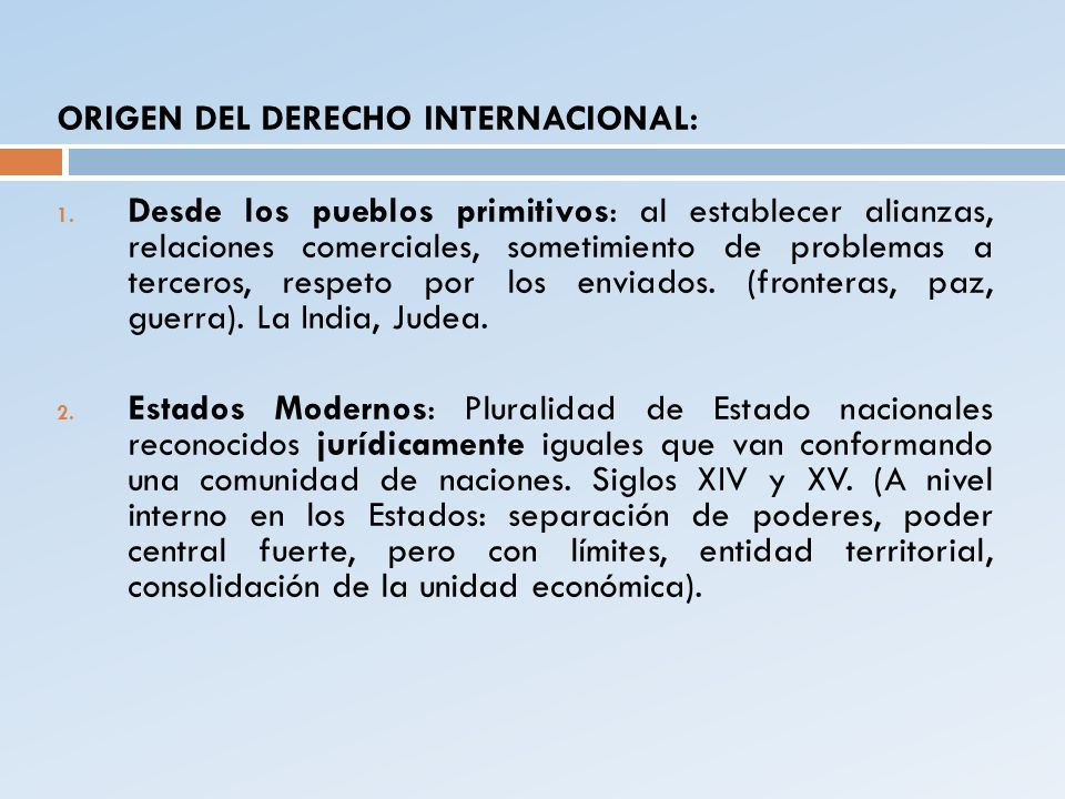 ORIGEN DEL DERECHO INTERNACIONAL: