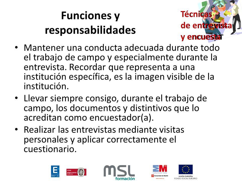 Funciones y responsabilidades