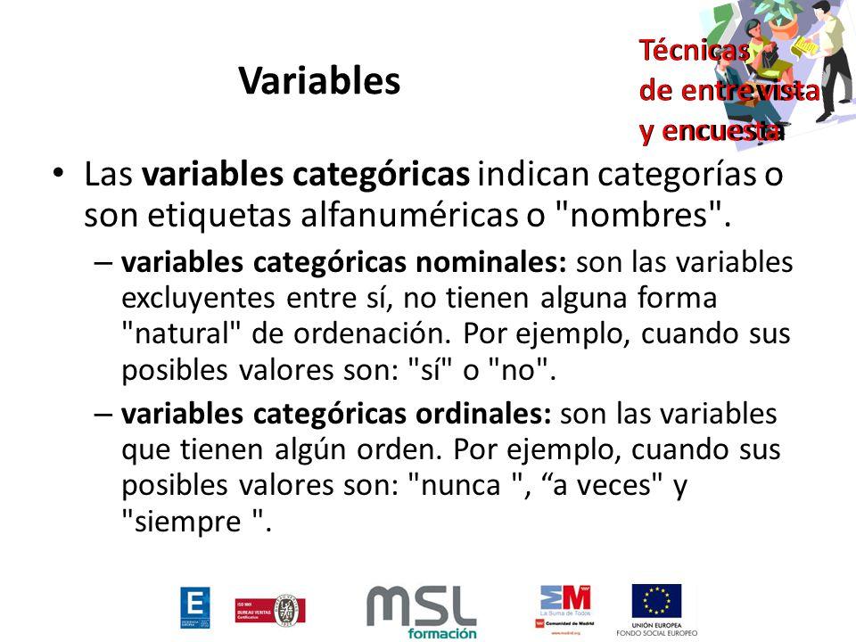 Variables Las variables categóricas indican categorías o son etiquetas alfanuméricas o nombres .