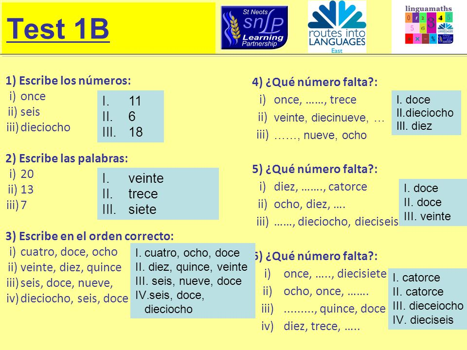 Test 1B 1) Escribe los números: i) once ii) seis iii) dieciocho