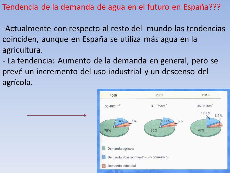 Tendencia de la demanda de agua en el futuro en España