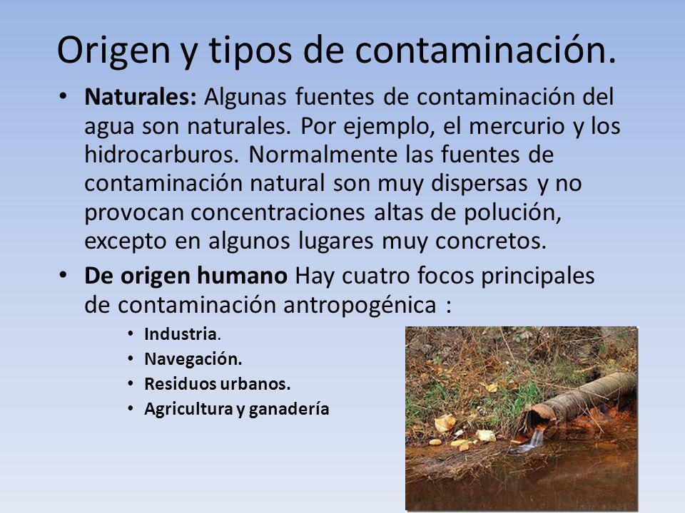 Origen y tipos de contaminación.