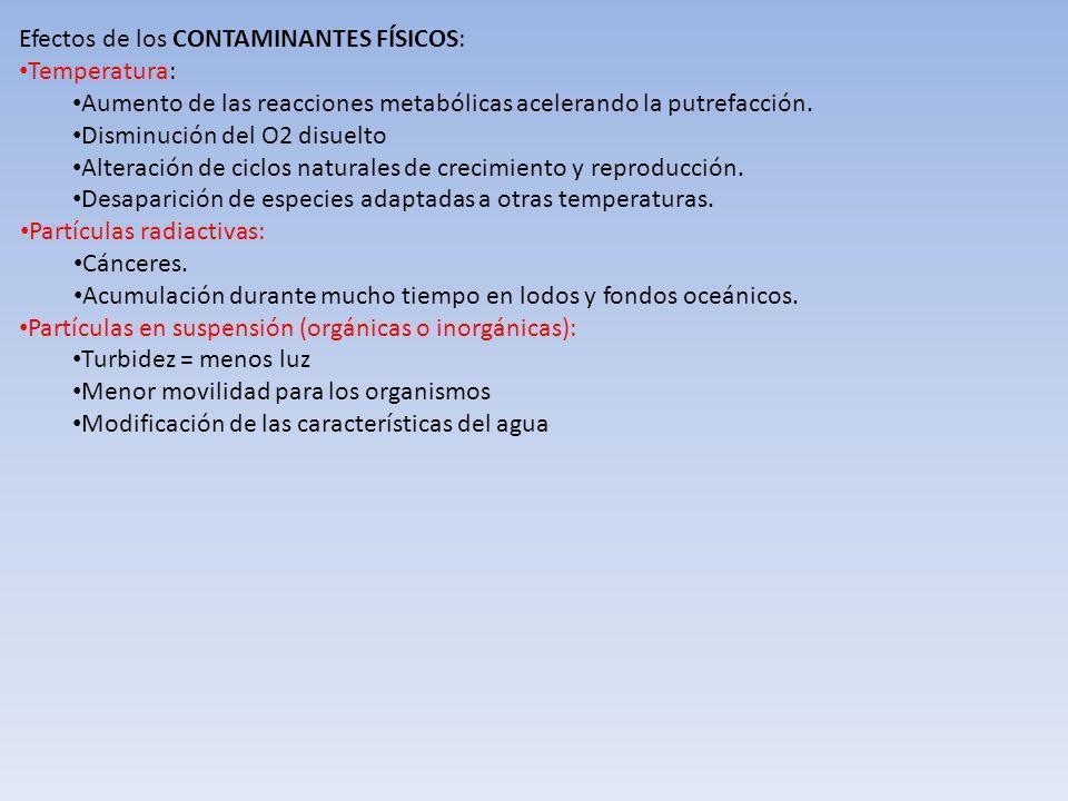Efectos de los CONTAMINANTES FÍSICOS: