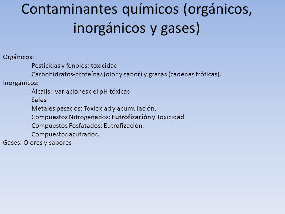 Contaminantes químicos (orgánicos, inorgánicos y gases)