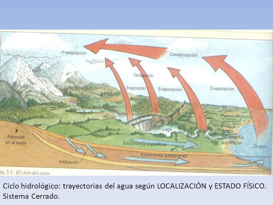 Ciclo hidrológico: trayectorias del agua según LOCALIZACIÓN y ESTADO FÍSICO. Sistema Cerrado.
