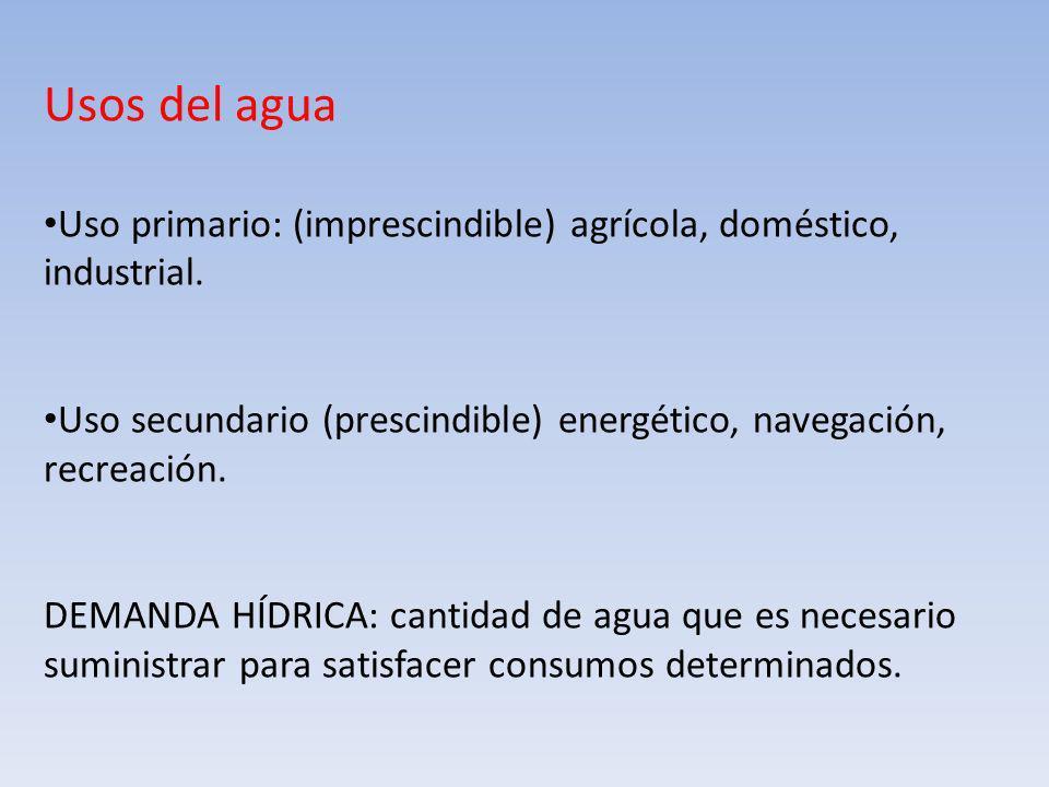 Usos del agua Uso primario: (imprescindible) agrícola, doméstico, industrial. Uso secundario (prescindible) energético, navegación, recreación.