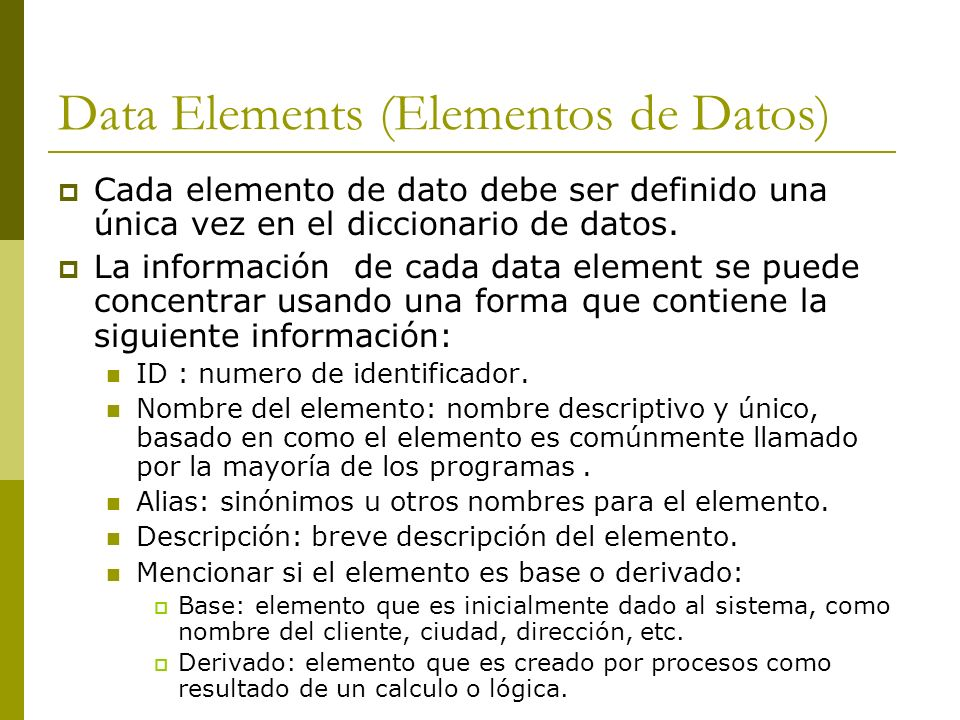 Data Elements (Elementos de Datos)
