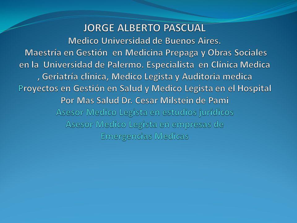 JORGE ALBERTO PASCUAL Medico Universidad de Buenos Aires