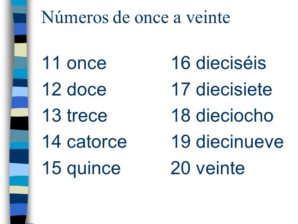 Números de once a veinte