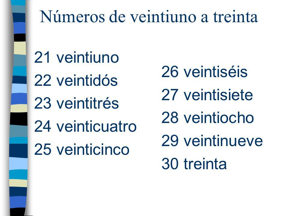 Números de veintiuno a treinta