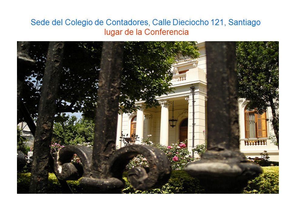 Sede del Colegio de Contadores, Calle Dieciocho 121, Santiago lugar de la Conferencia