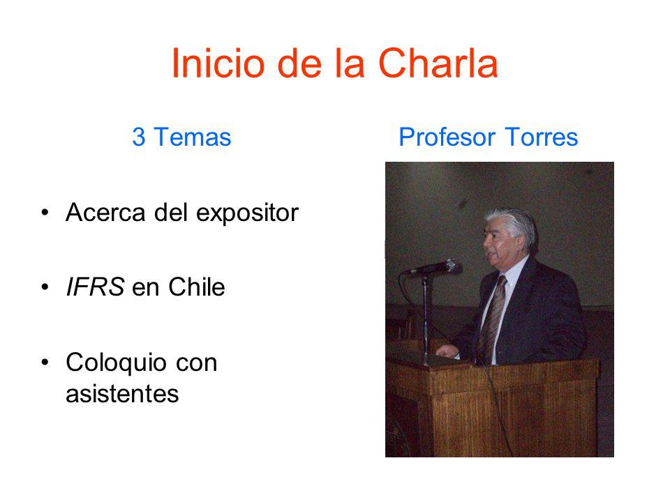 Inicio de la Charla 3 Temas Acerca del expositor IFRS en Chile