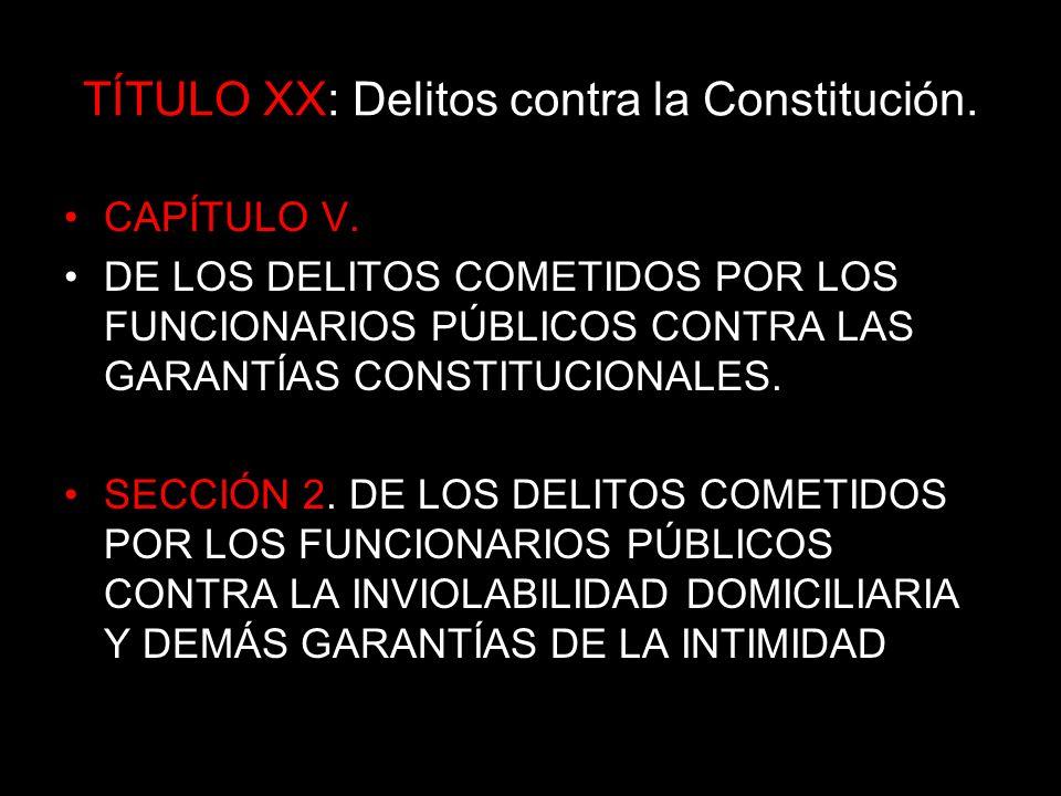 TÍTULO XX: Delitos contra la Constitución.