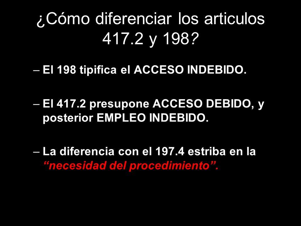 ¿Cómo diferenciar los articulos 417.2 y 198