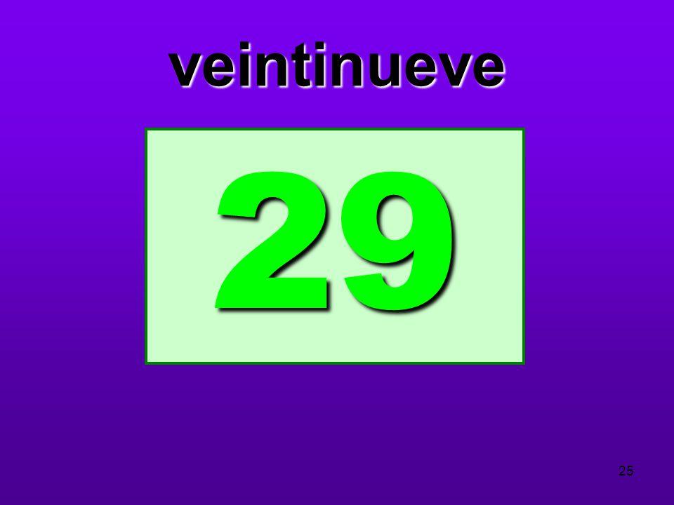 veintinueve 29 25