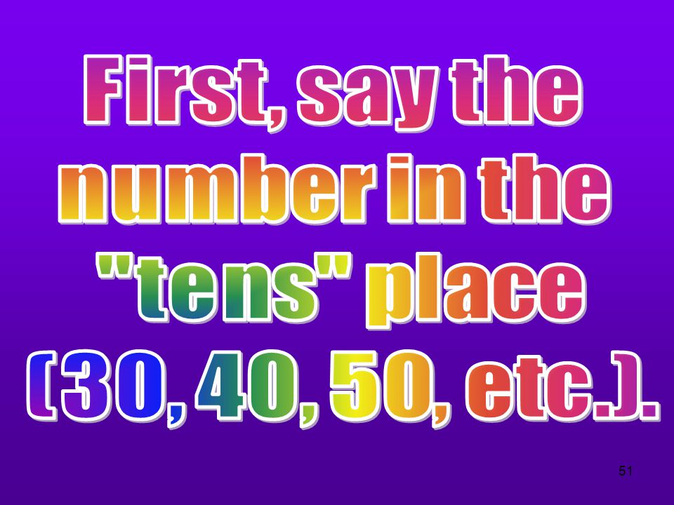 First, say the number in the tens place (30, 40, 50, etc.).