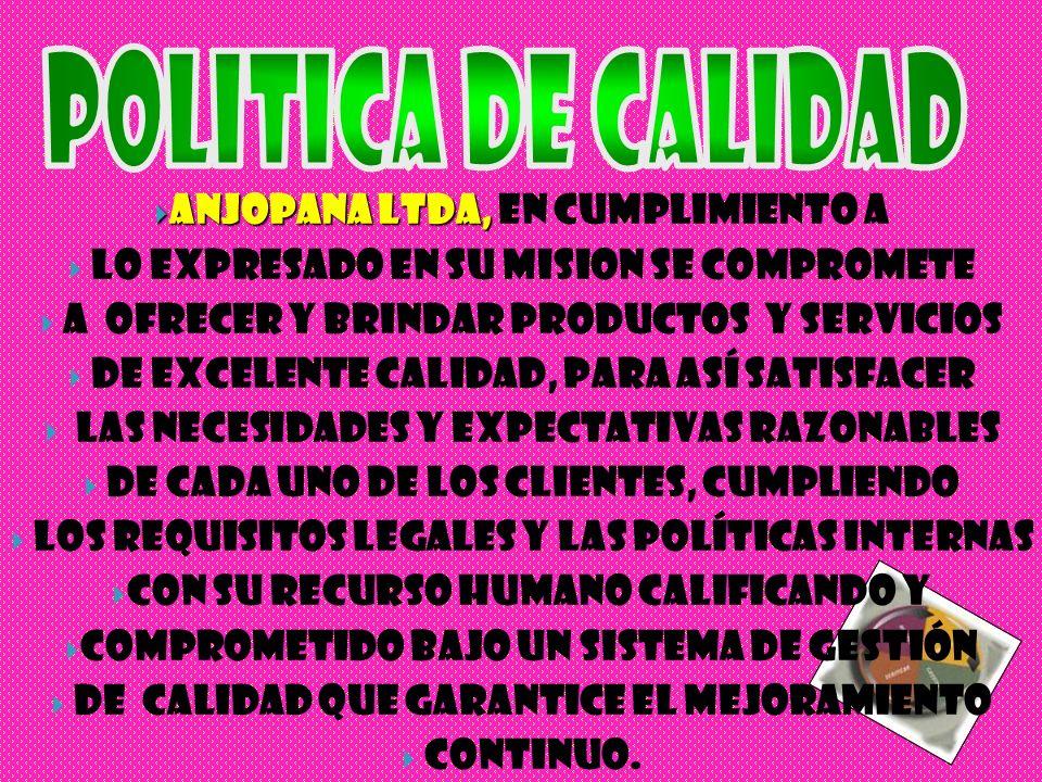 POLITICA DE CALIDAD ANJOPANA LTDA, En cumplimiento a
