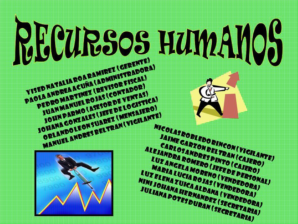 RECURSOS HUMANOS YISED NATALIA ROA RAMIREZ (GERENTE)