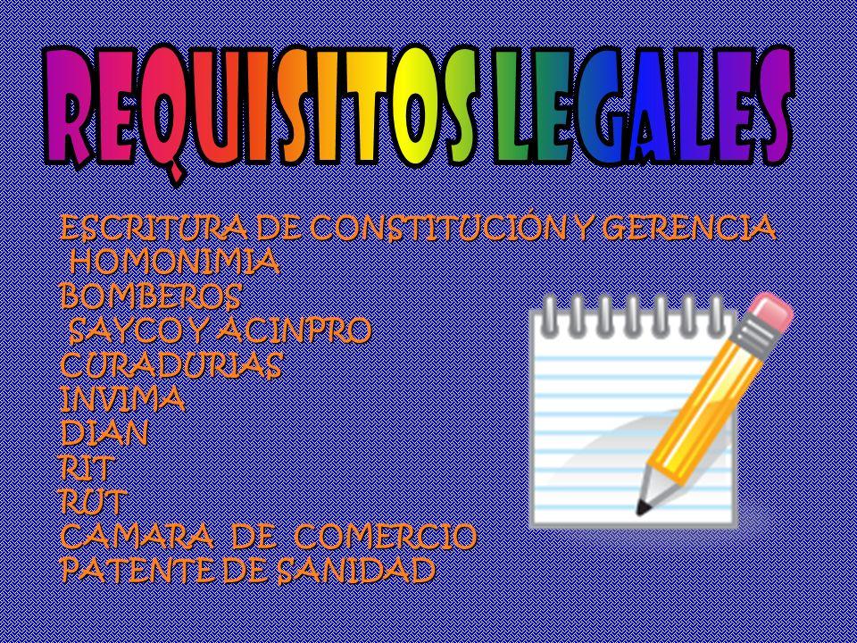 REQUISITOS LEGALES ESCRITURA DE CONSTITUCIÓN Y GERENCIA HOMONIMIA