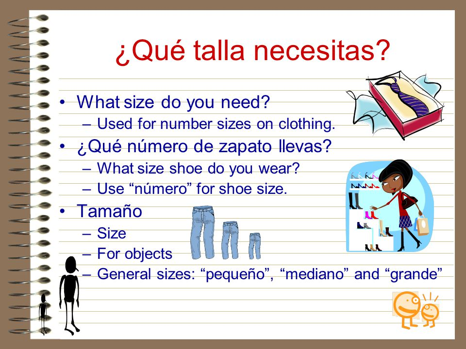 ¿Qué talla necesitas What size do you need