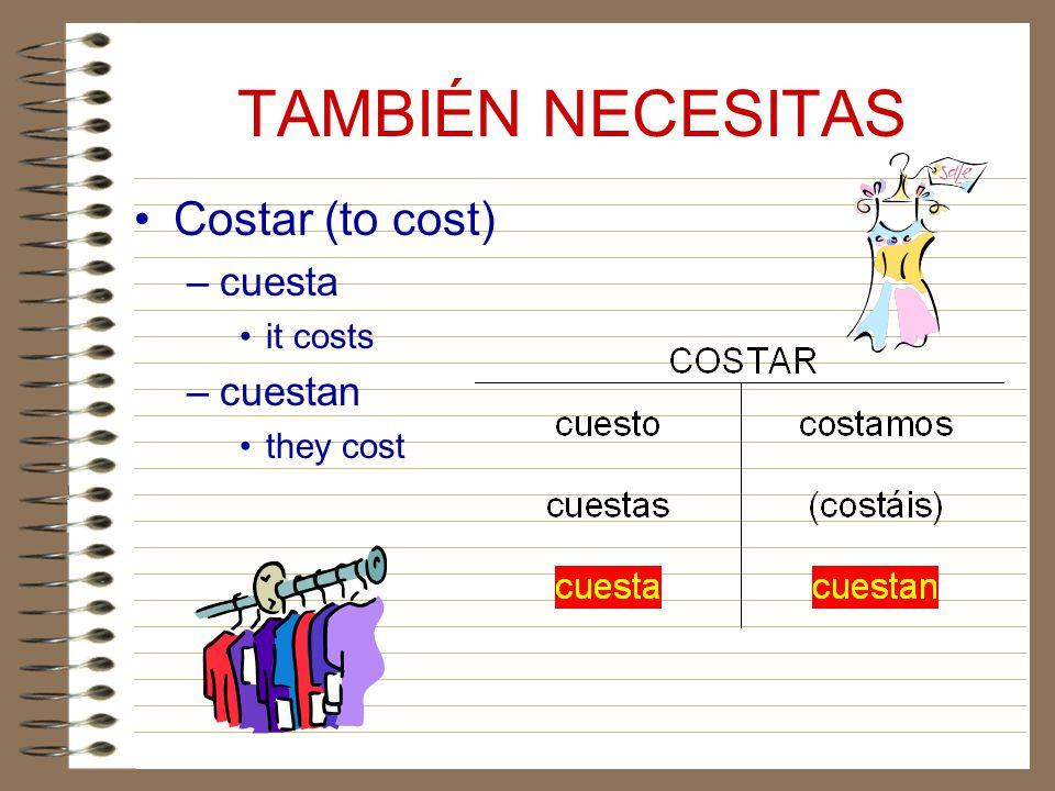 TAMBIÉN NECESITAS Costar (to cost) cuesta it costs cuestan they cost