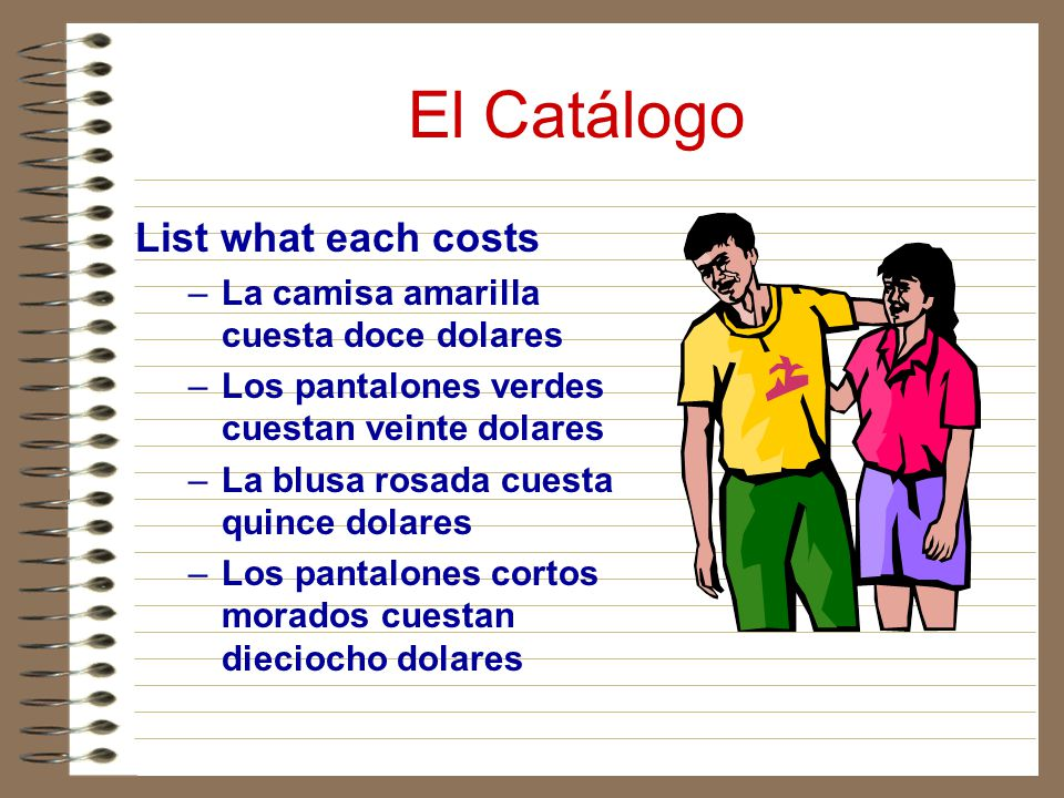 El Catálogo List what each costs