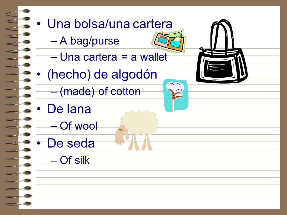Una bolsa/una cartera (hecho) de algodón De lana De seda A bag/purse