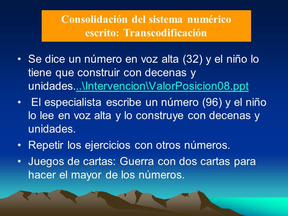 Consolidación del sistema numérico escrito: Transcodificación