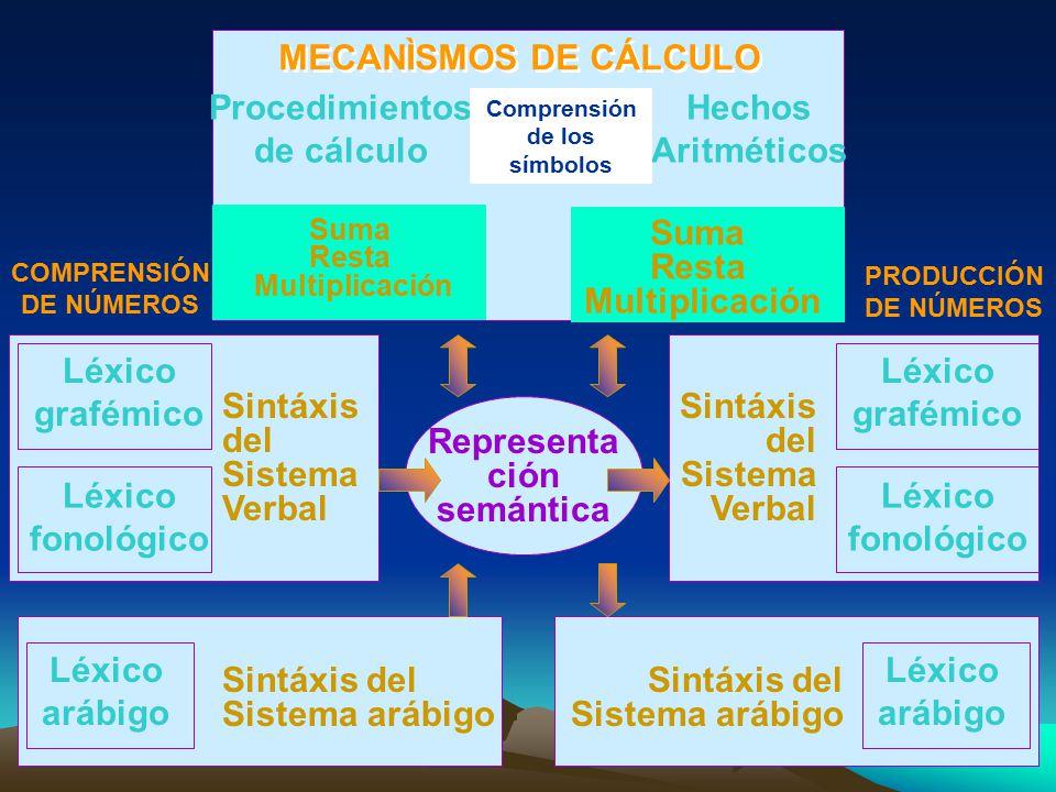 Procedimientos de cálculo Hechos Aritméticos