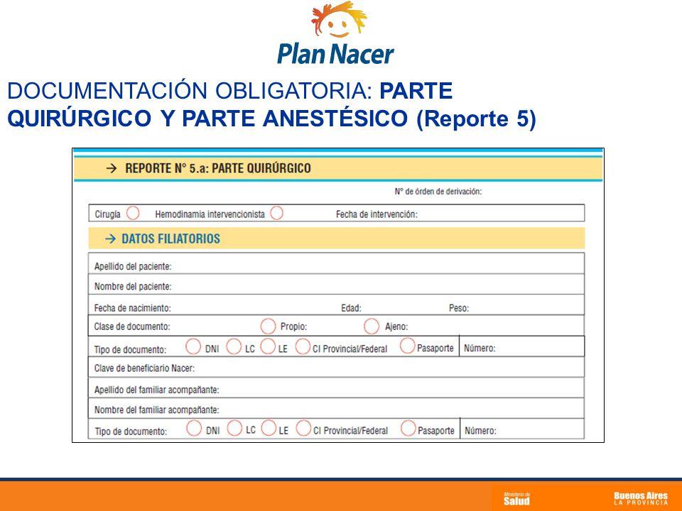 DOCUMENTACIÓN OBLIGATORIA: PARTE QUIRÚRGICO Y PARTE ANESTÉSICO (Reporte 5)