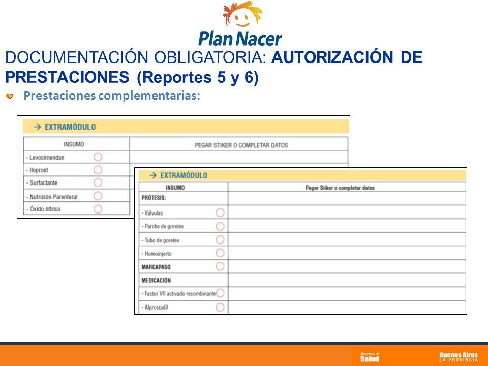 DOCUMENTACIÓN OBLIGATORIA: AUTORIZACIÓN DE PRESTACIONES (Reportes 5 y 6)