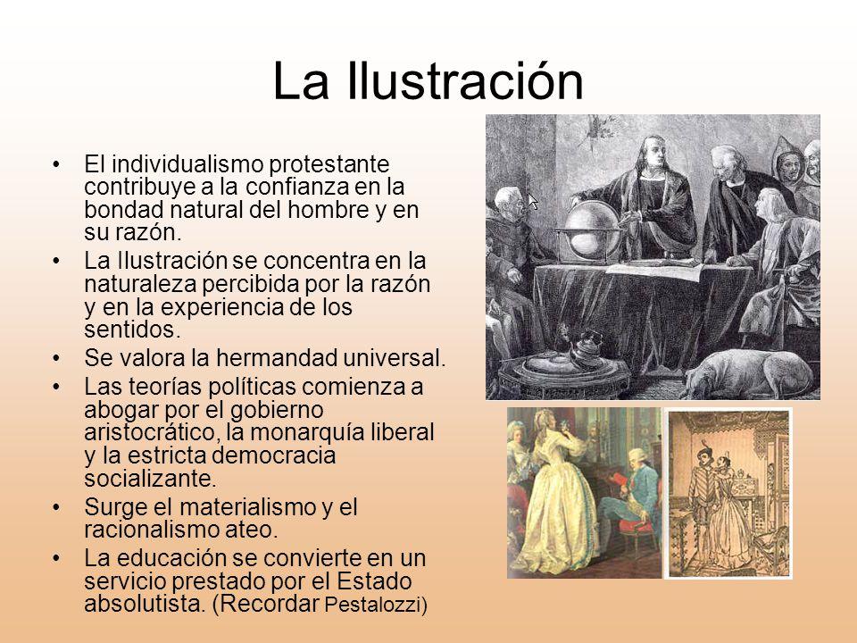 La Ilustración El individualismo protestante contribuye a la confianza en la bondad natural del hombre y en su razón.
