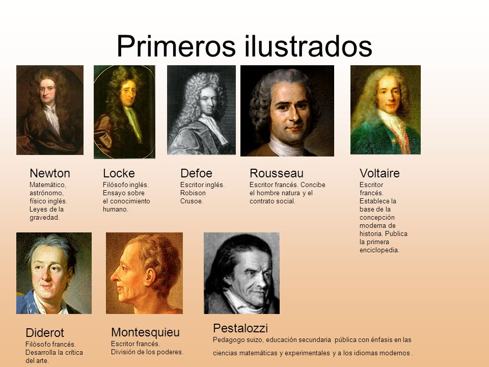 Primeros ilustrados Newton Locke Defoe Rousseau Voltaire Pestalozzi