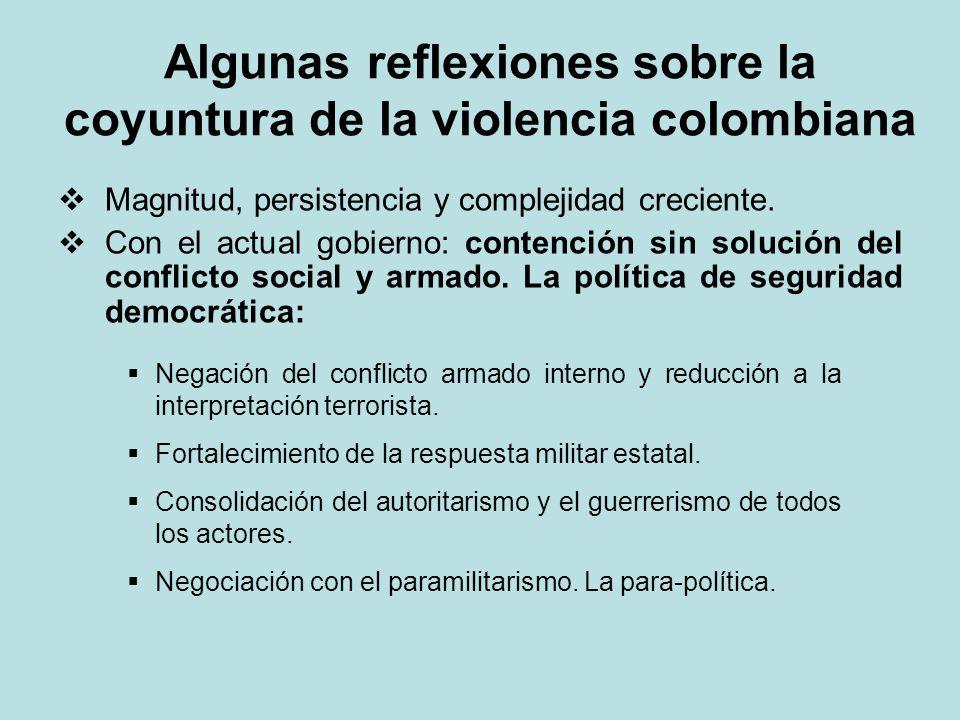 Algunas reflexiones sobre la coyuntura de la violencia colombiana