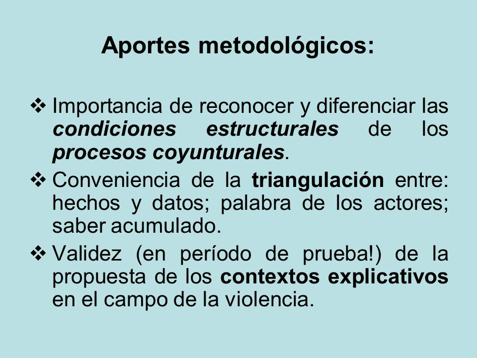 Aportes metodológicos:
