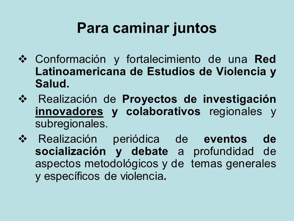 Para caminar juntos Conformación y fortalecimiento de una Red Latinoamericana de Estudios de Violencia y Salud.
