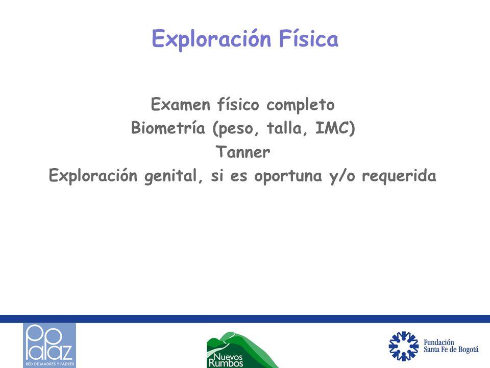 Exploración Física Examen físico completo Biometría (peso, talla, IMC) Tanner Exploración genital, si es oportuna y/o requerida