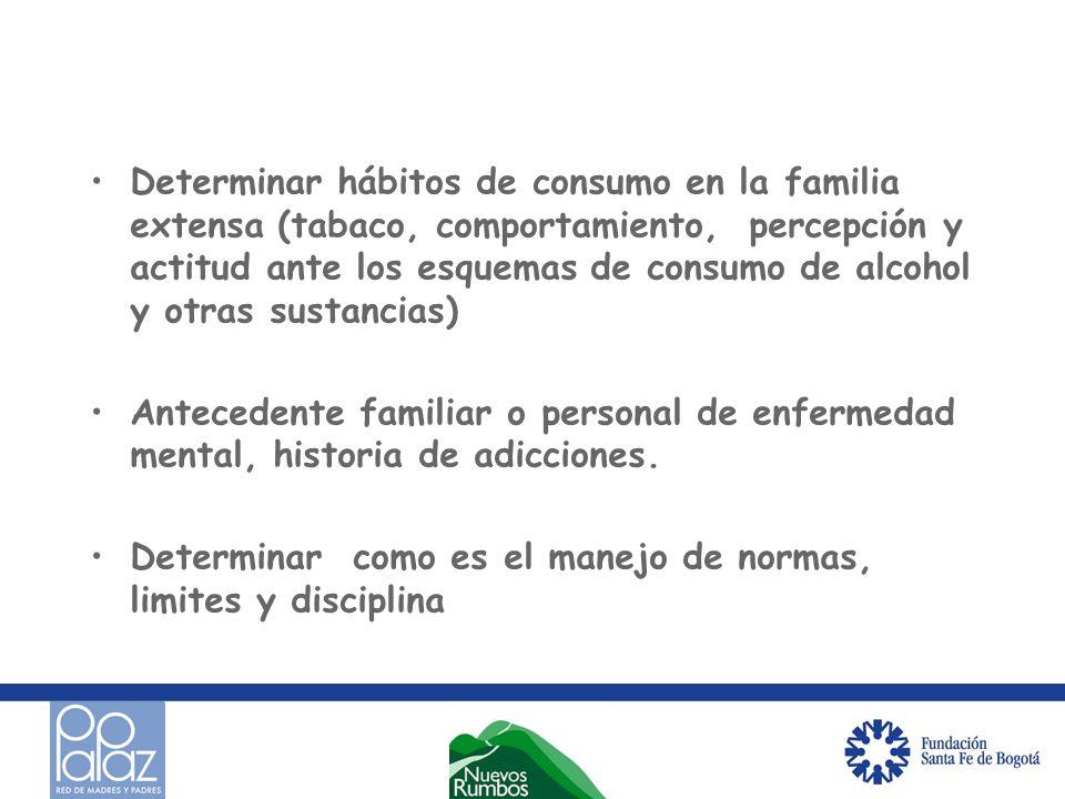 Determinar hábitos de consumo en la familia extensa (tabaco, comportamiento, percepción y actitud ante los esquemas de consumo de alcohol y otras sustancias)