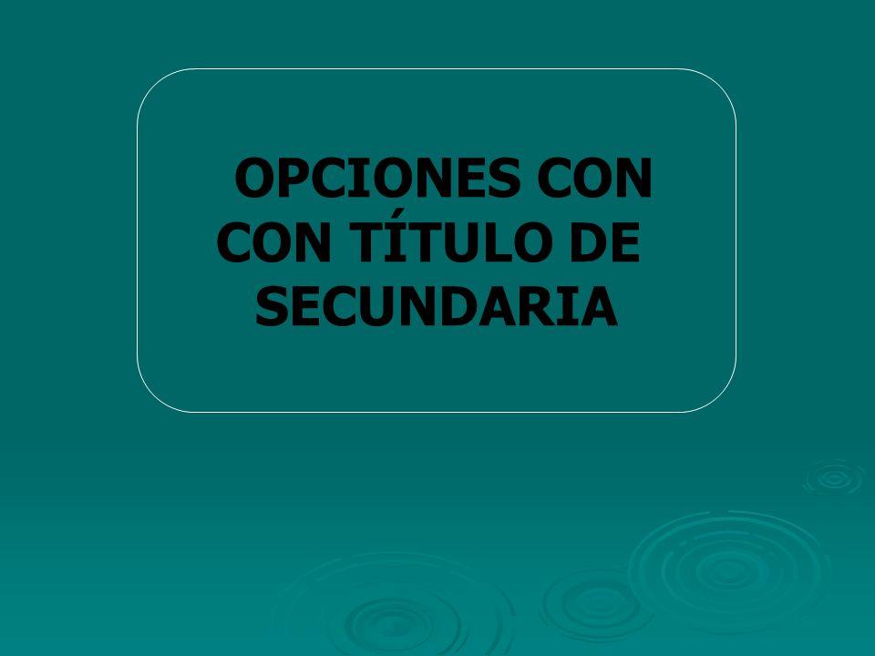 OPCIONES CON CON TÍTULO DE SECUNDARIA