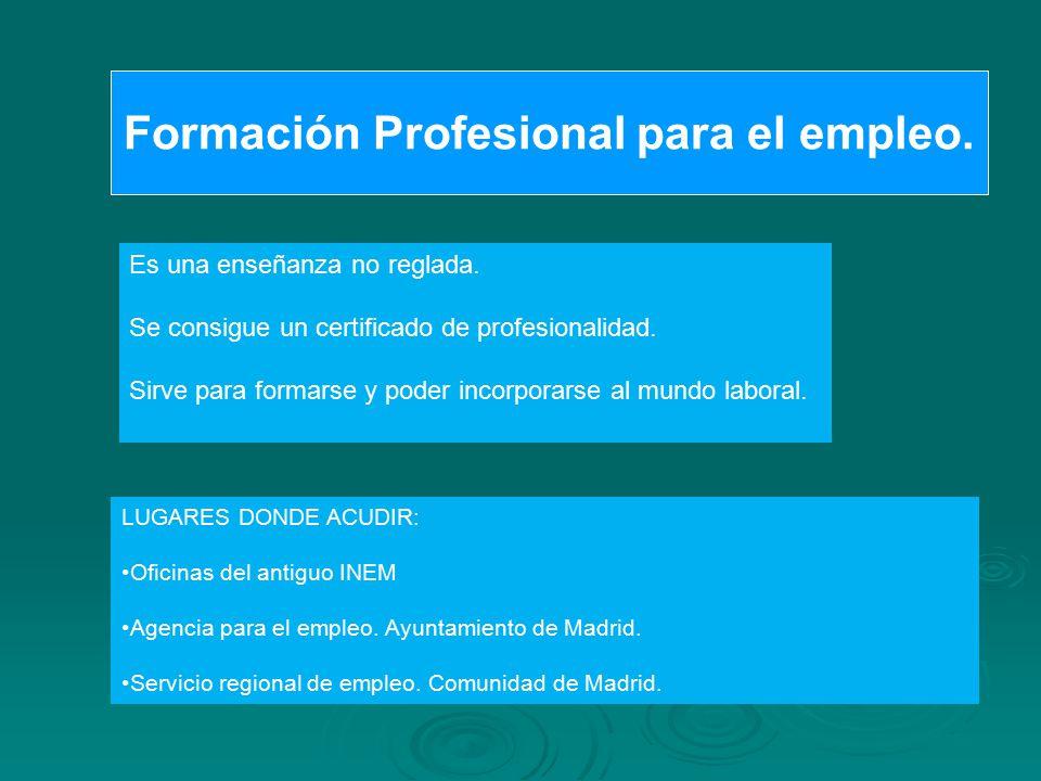 Formación Profesional para el empleo.
