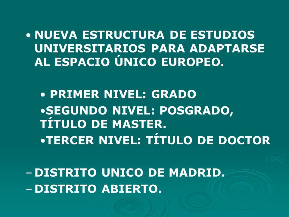 NUEVA ESTRUCTURA DE ESTUDIOS UNIVERSITARIOS PARA ADAPTARSE AL ESPACIO ÚNICO EUROPEO.
