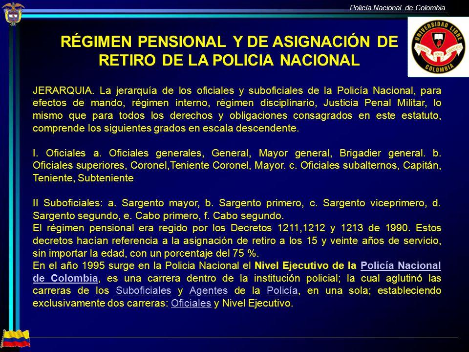 RÉGIMEN PENSIONAL Y DE ASIGNACIÓN DE RETIRO DE LA POLICIA NACIONAL