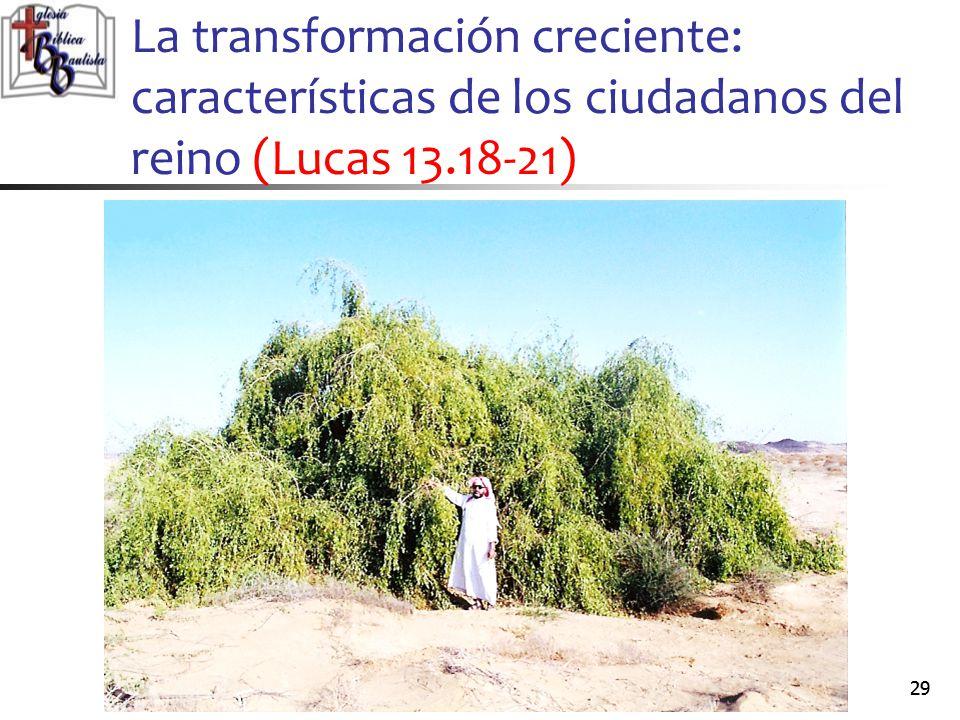 La transformación creciente: características de los ciudadanos del reino (Lucas 13.18-21)