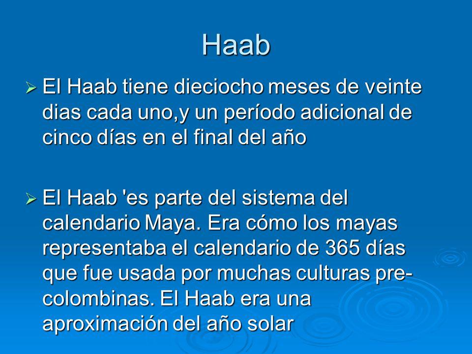 Haab El Haab tiene dieciocho meses de veinte dias cada uno,y un período adicional de cinco días en el final del año.