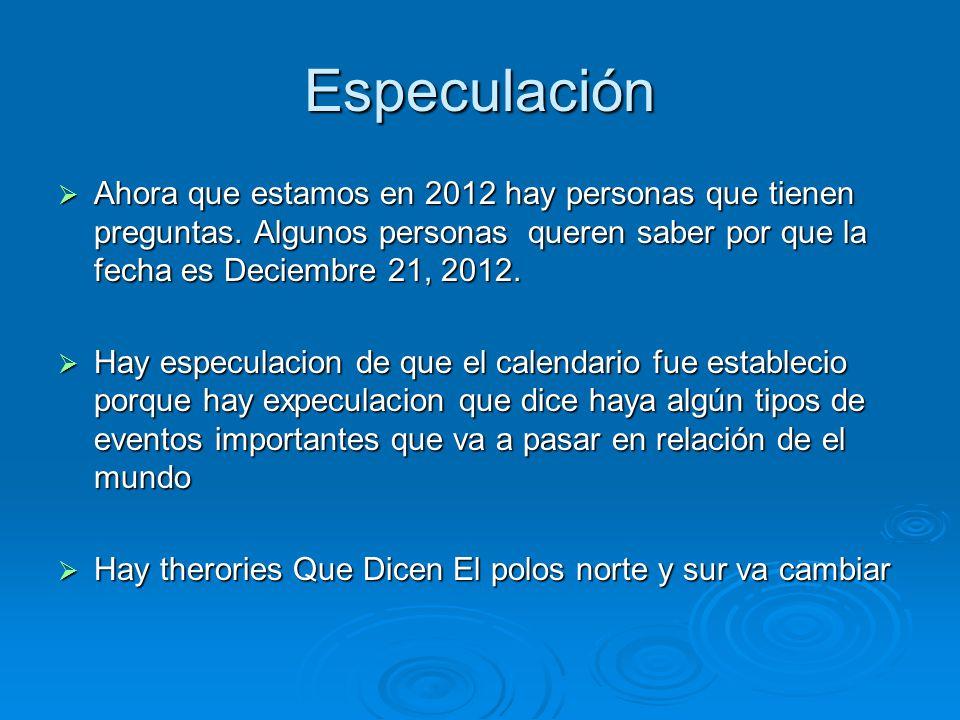 Especulación Ahora que estamos en 2012 hay personas que tienen preguntas. Algunos personas queren saber por que la fecha es Deciembre 21, 2012.